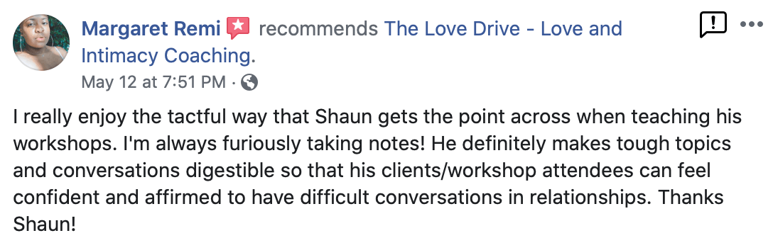 feedback on the love drive workshop